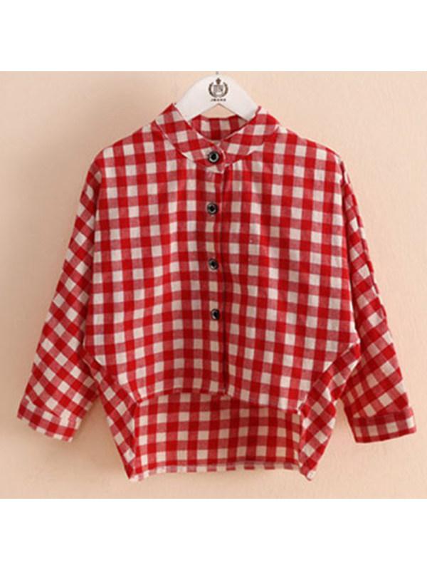 【2Y-9Y】Kids Fashion Plaid Long-sleeved Shirt