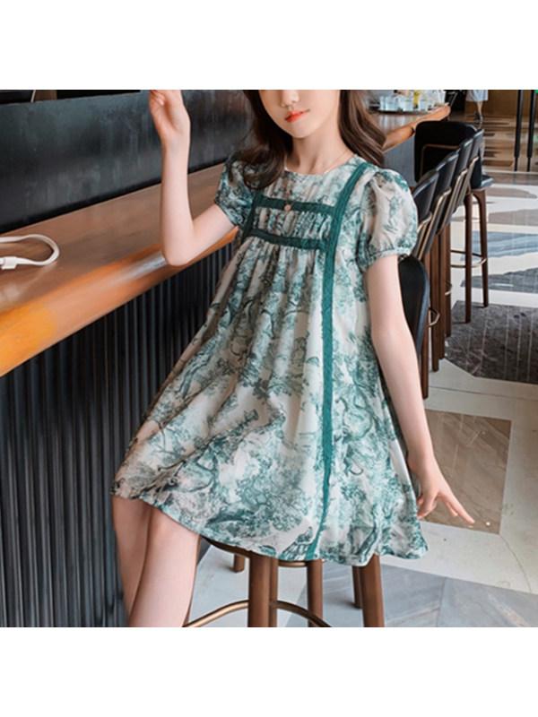 【3Y-13Y】Girls Round Neck Puff Sleeve Printed Chiffon Dress