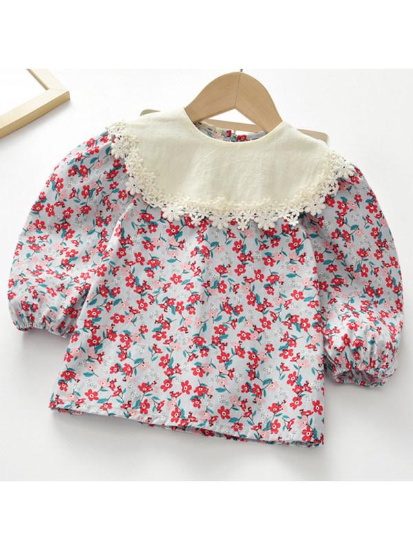 【2Y-9Y】Girl Sweet Floral Long Sleeve Shirt