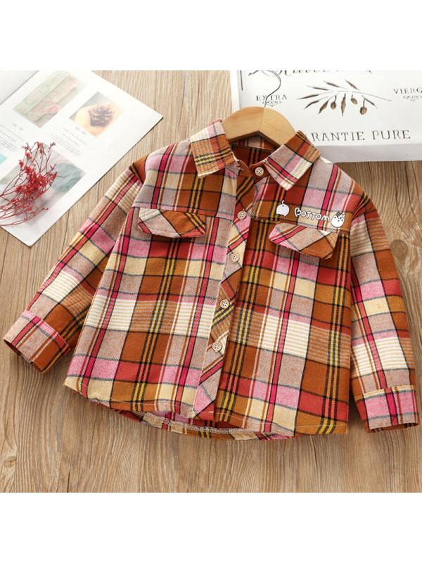 【2Y-9Y】Girls Fashion Plaid Cartoon Pattern Long Sleeve Shirt