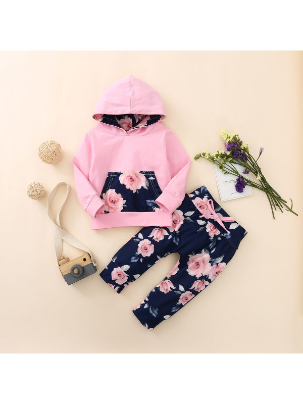 【6M-3Y】Girls Hooded Sweatshirt With Floral Print Trousers Two-piece Suit