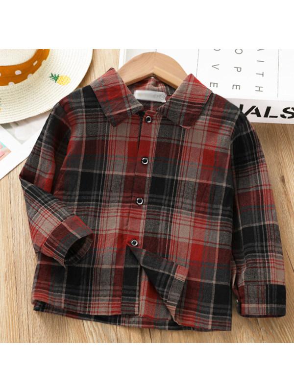 【2Y-9Y】Kids Fashion Red Plaid Long-sleeved Shirt