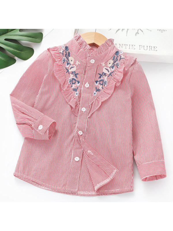 【2Y-7Y】 Girl Sweet Red Striped Embroidered Long Sleeve Shirt