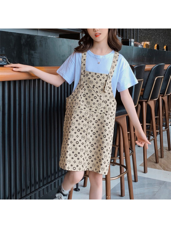 【3Y-13Y】Girl Round Neck Short-sleeved Top With Printed Suspender Skirt Two-piece Suit