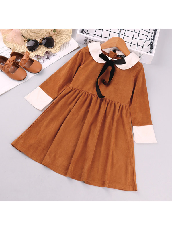 【18M-7Y】Girls' Color Matching Long-sleeved Dress