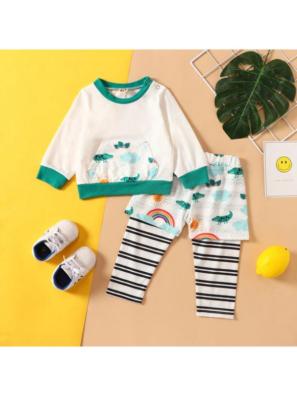 【6M-3Y】Baby Crocodile Print Long Sleeve Suit