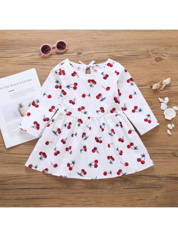 【3Y-7Y】Girl's Cherry Full Print Hollow Long Sleeve Dress