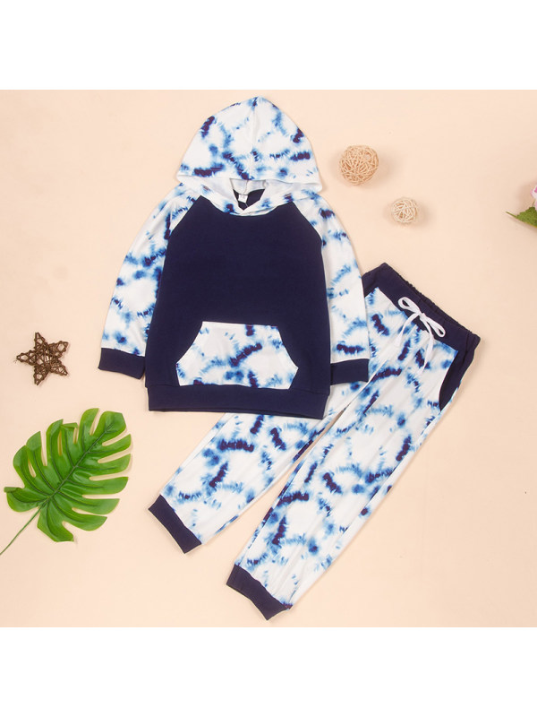 【18M-7Y】Boys Hooded Stitching Long-sleeved Sweatshirt With Camouflage Trousers Two-piece Suit