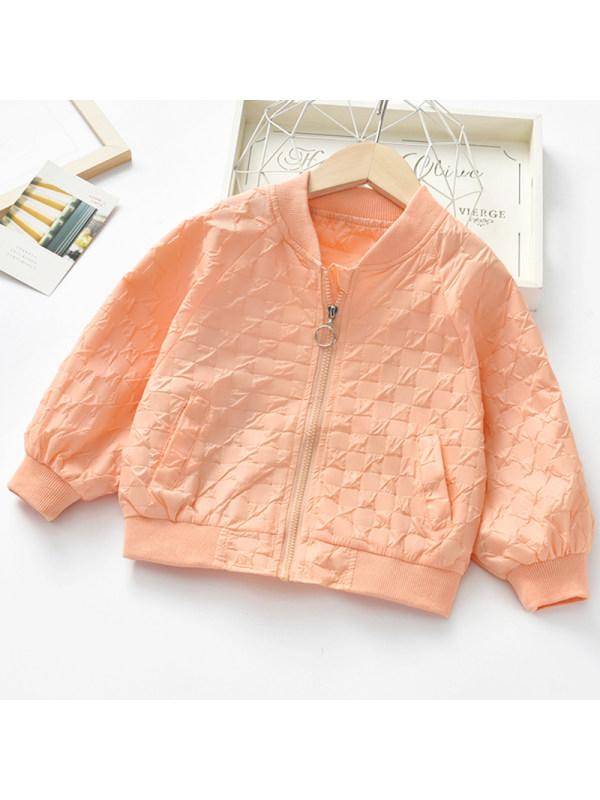【2Y-9Y】Girls Sweet Orange Baseball Jacket