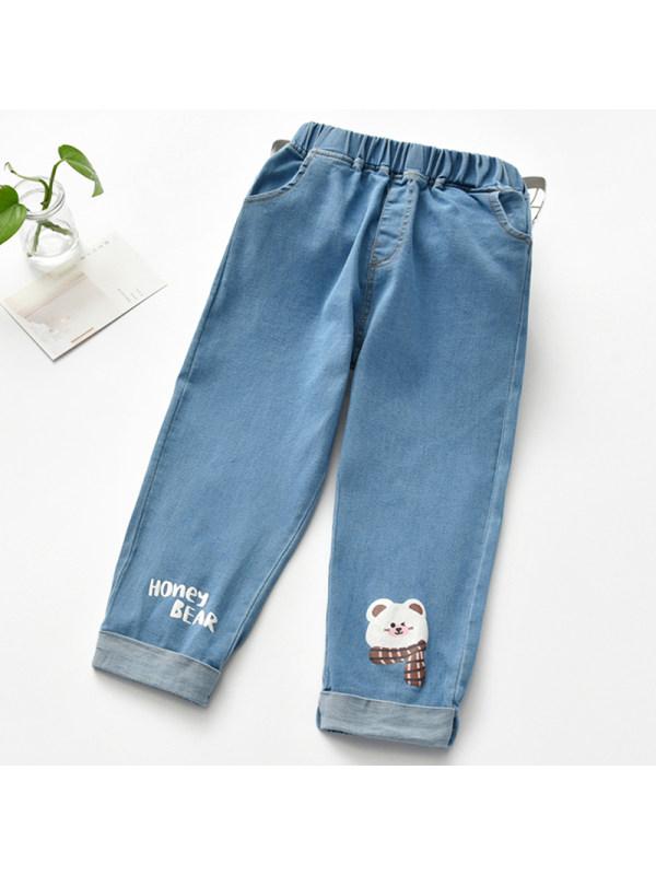 【18M-9Y】Girl Sweet Cartoon Pattern Jeans
