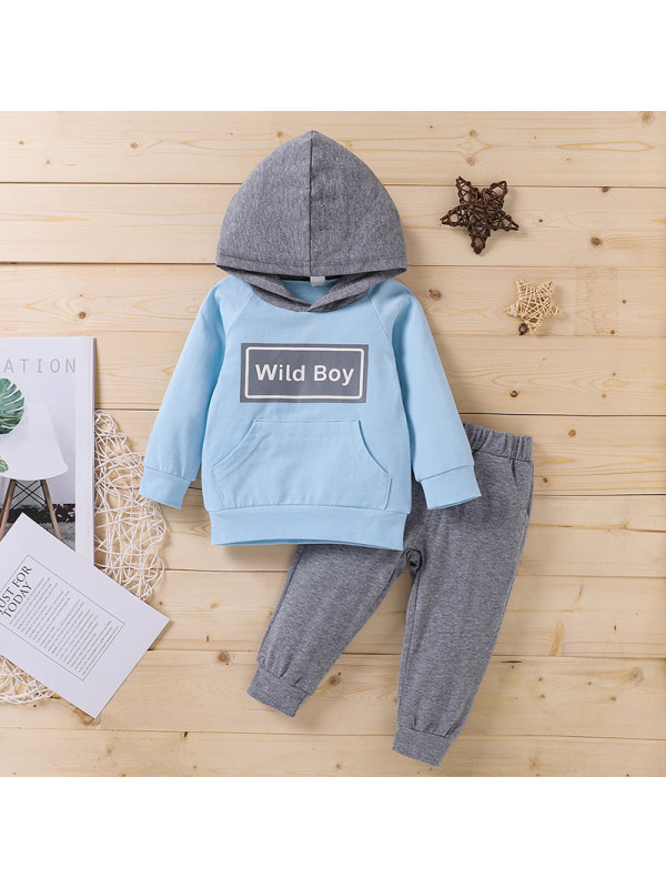 【6M-3Y】Boys Letter Print Hooded Long Sleeve Sweatshirt With Trousers Casual Suit