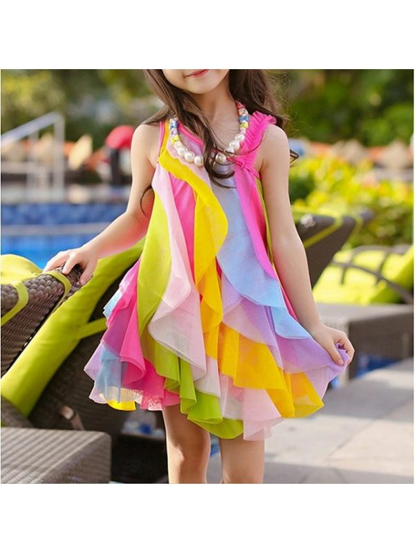 【3Y-11Y】Girls One Shoulder Sleeveless Rainbow Mesh Dress