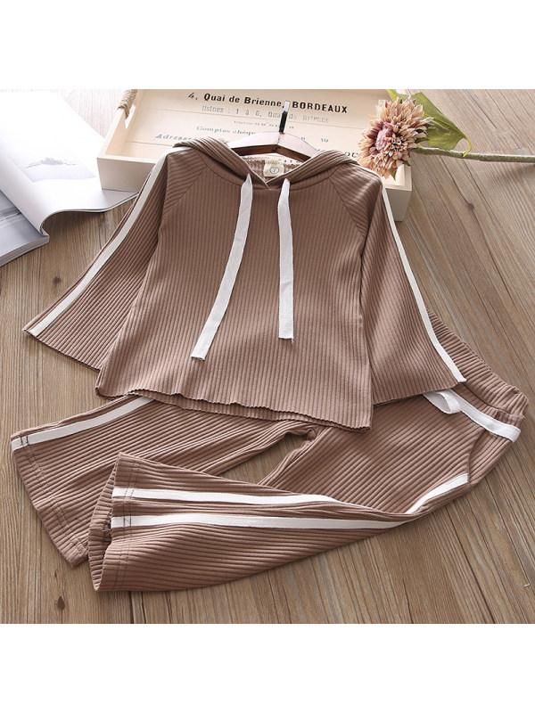 【2Y-9Y】Girl Sweet Brown Hooded Sweatshirt Pants Set