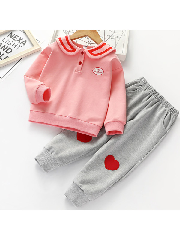 【18M-9Y】Girl Sweet Pink Sweatshirt Gray Pants Set