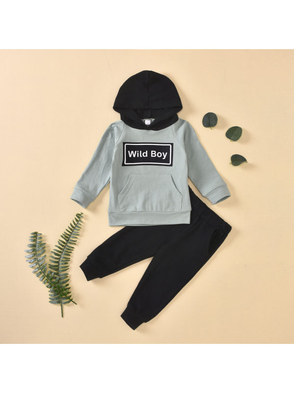 【6M-3Y】Boys Hooded Letter Print Sweatshirt With Long Pants Two-piece Suit
