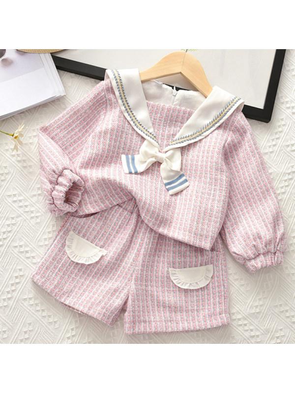 【2Y-9Y】Girl Sweet Pink Tweed Top And Shorts Set