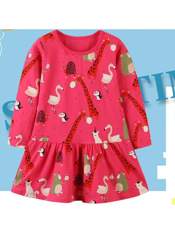 【18M-7Y】Girls Animal Print Long Sleeve Dress