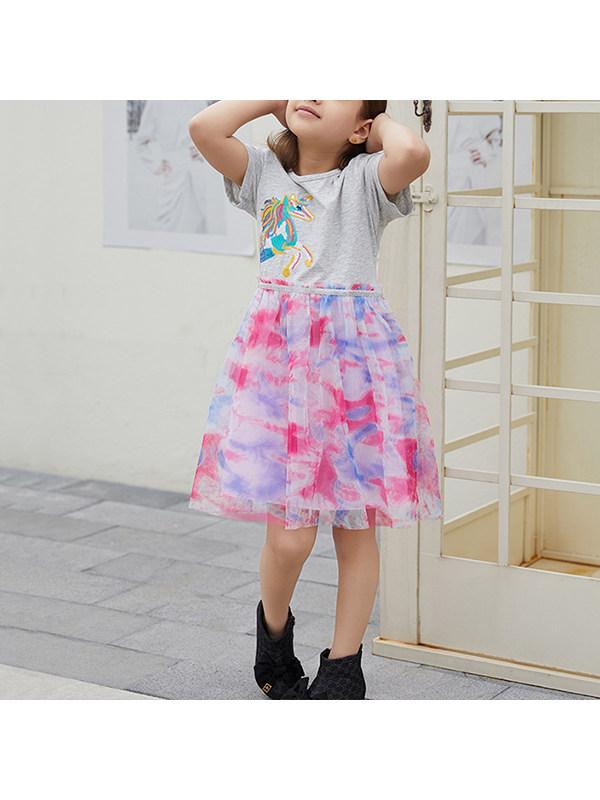 【18M-9Y】Girls Mesh Stitching Unicorn Print Dress