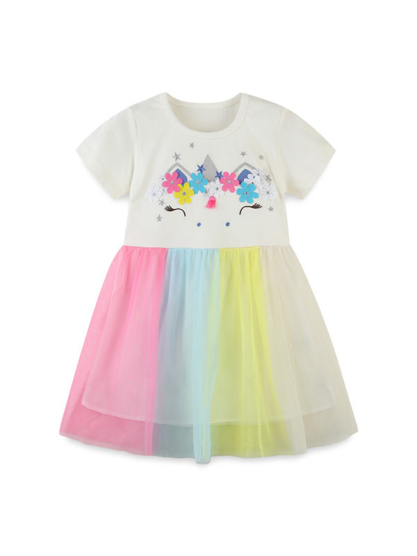 【18M-9Y】Girls Embroidered Stitching Short Sleeve Dress