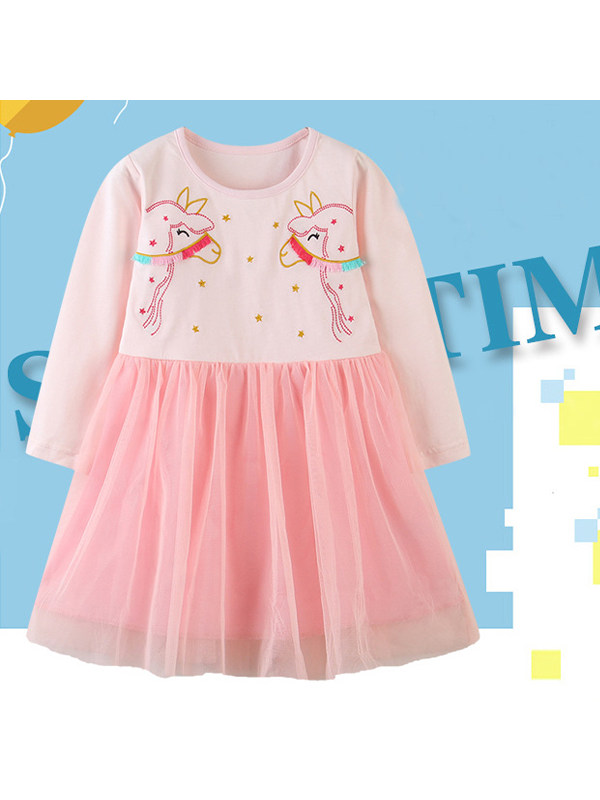 【18M-9Y】Girls Embroidered Mesh Stitching Long-sleeved Dress