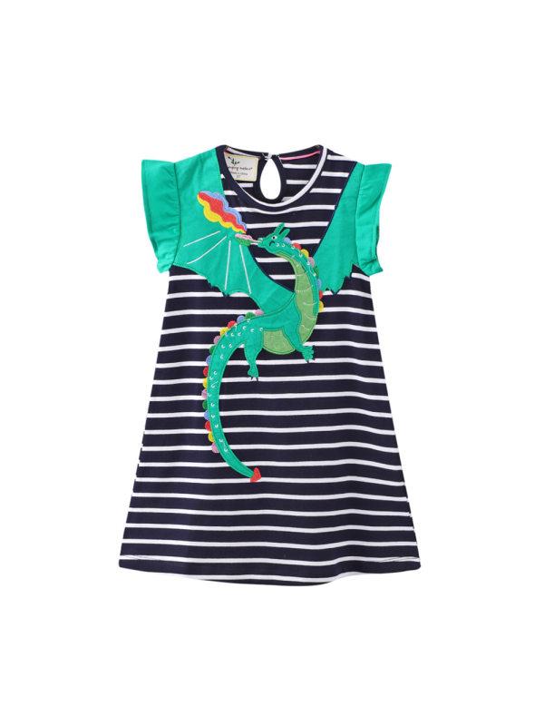 【12M-7Y】Girls Short-sleeved Striped Contrast Stitching Dress