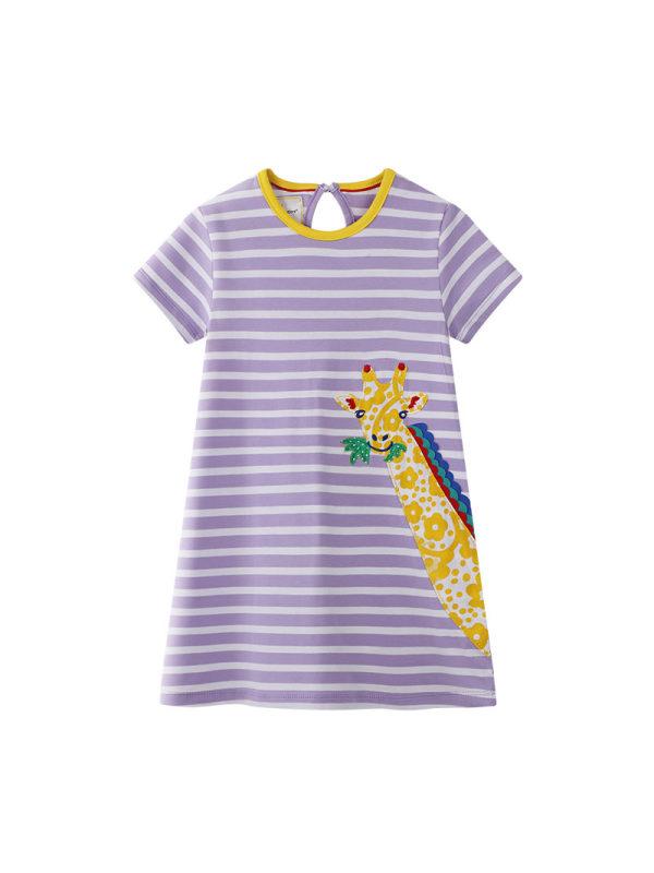 【12M-7Y】Girls Striped Giraffe Embroidered Dress