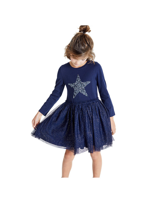 【18M-9Y】Girls Lace Stitching Embroidered Long-sleeved Dress