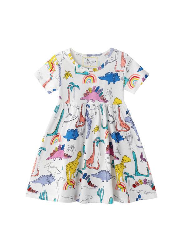【12M-9Y】Girls Cartoon Dinosaur Print Dress