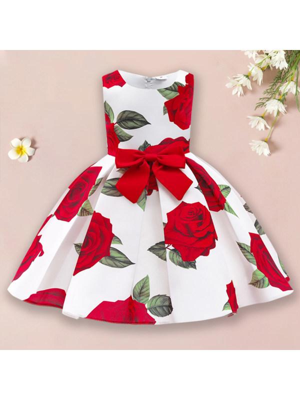 【2Y-10Y】 Sweet Rose Red Bow Dress