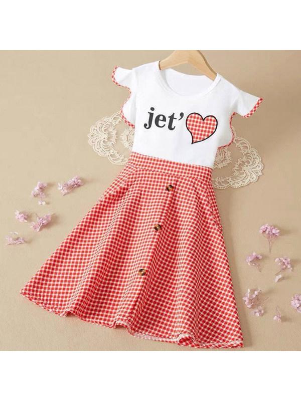 【3Y-13Y】Girls Sweet Letter Print Plaid Dress
