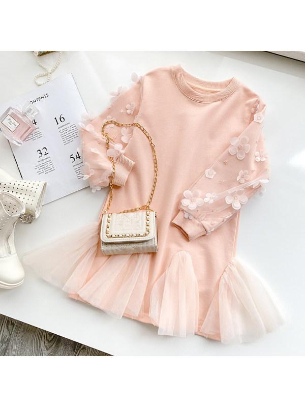 【18M-7Y】Girls Sweet Flower Mesh Dress