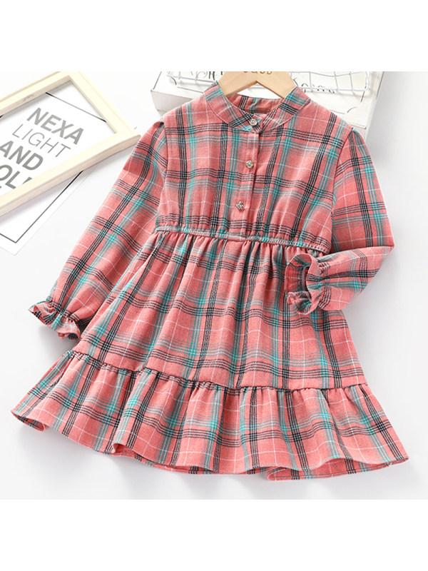 【2Y-9Y】Girl Sweet Pink Plaid Long Sleeve Dress