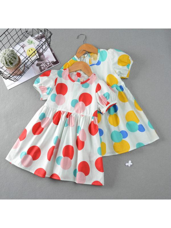【18M-9Y】Girls Round Neck Puff Sleeve Polka Dot Dress
