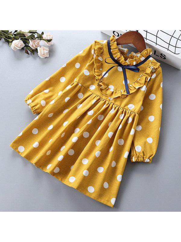 【18M-7Y】Girls Sweet Polka Dot Print Long Sleeve Dress