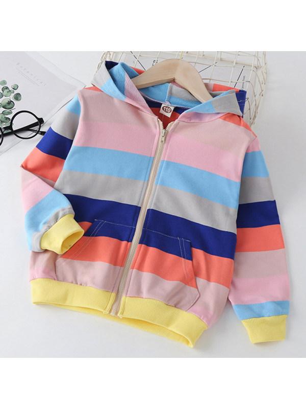 【2Y-9Y】Girls Sweet Rainbow Striped Hooded Sweatshirt Jacket