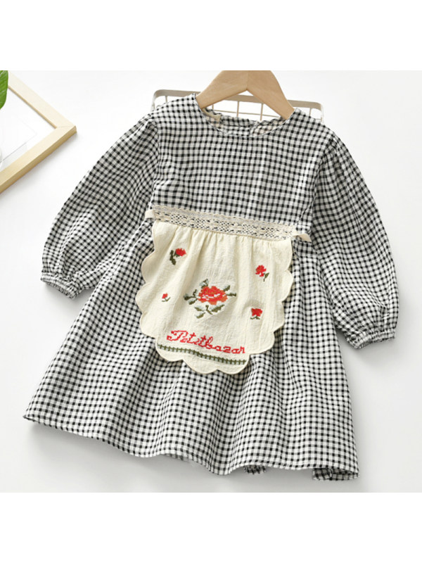 【2Y-9Y】Girls Sweet Black And White Long-sleeved Dress