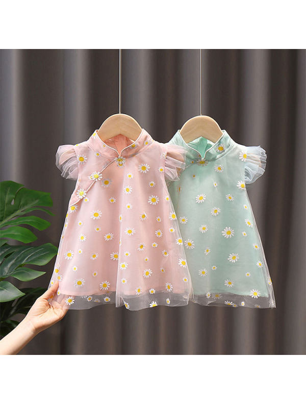 【12M-5Y】Girls Stand-up Collar Flying Sleeve Daisy Print Mesh Dress