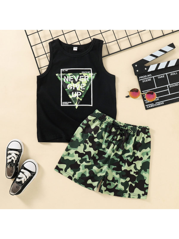 【18M-7Y】Boys Letter Print Tank Top With Camouflage Shorts Set