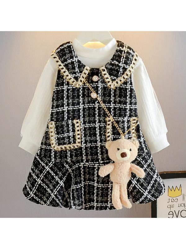 【18M-7Y】Girls Sweet Elegant Plaid Dress Set