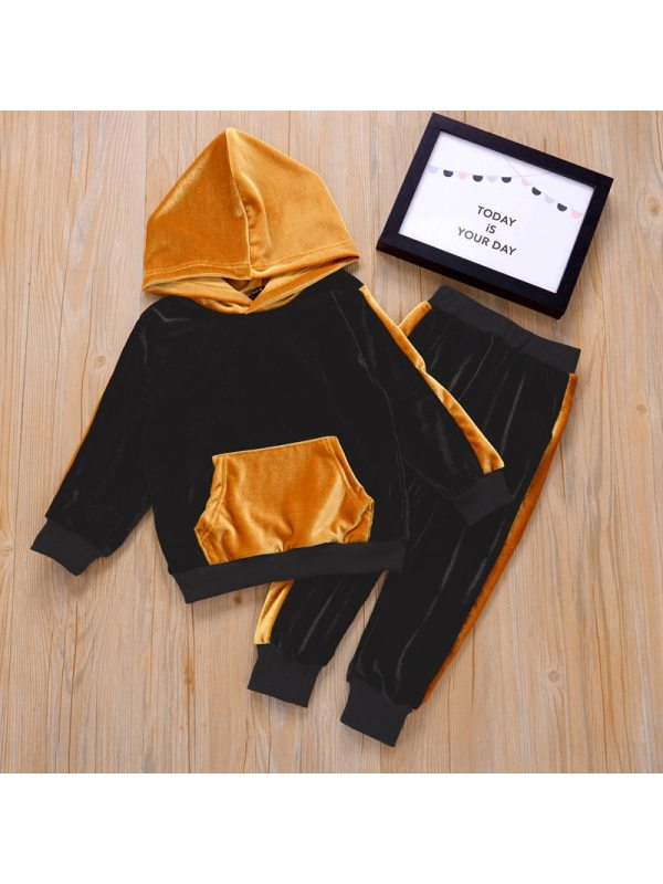 【18M-7Y】Girls Hooded Long Sleeve Contrasting Top With Long Pants Two-piece Sports Suit
