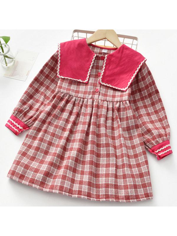 【2Y-9Y】Girl Sweet Red Plaid Long Sleeve Dress