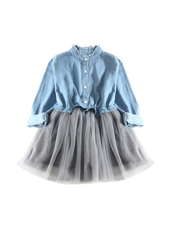 【12M-5Y】Girls Long-sleeved Denim Mesh Stitching Dress