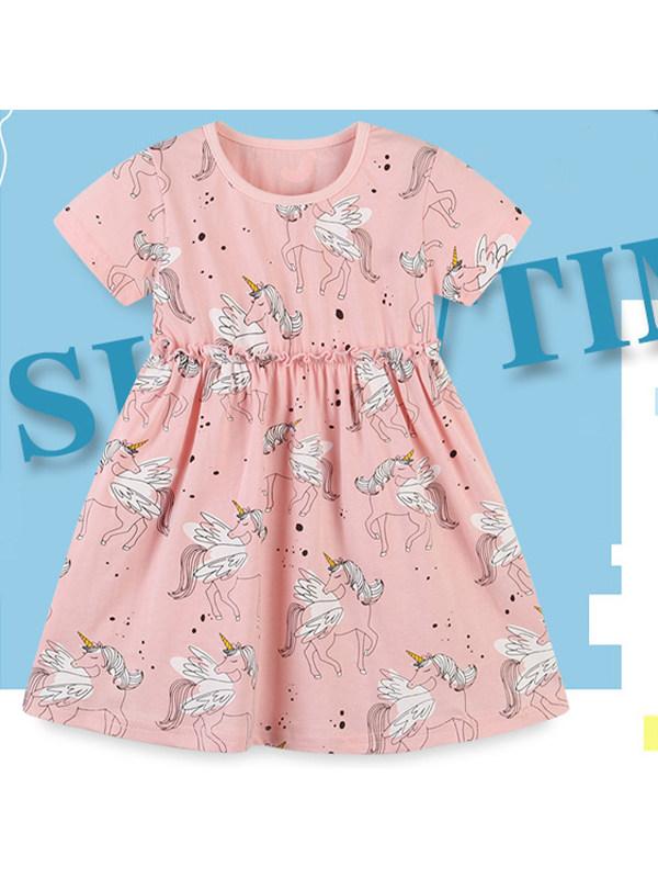 【18M-9Y】Girls' Cartoon Print Short-sleeved Knitted Dress