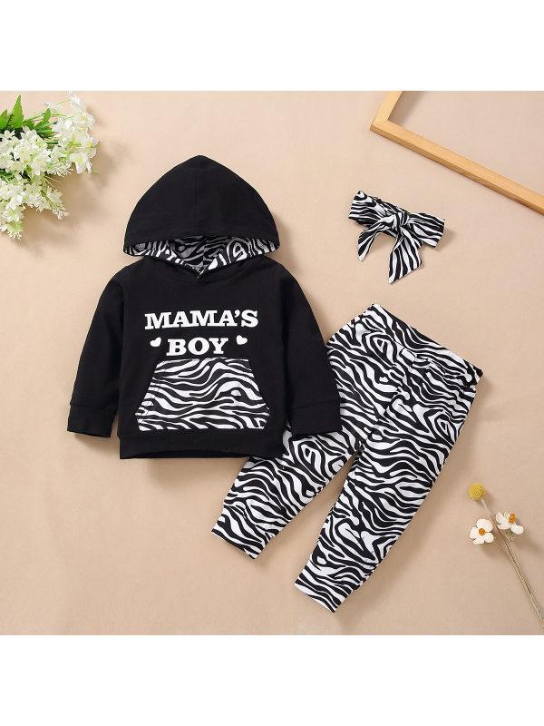 【6M-3Y】Boys Zebra Print Long Sleeve Three-piece Suit