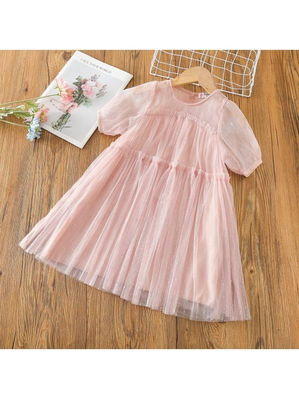【2Y-9Y】Girl Short-sleeved Mesh Dress