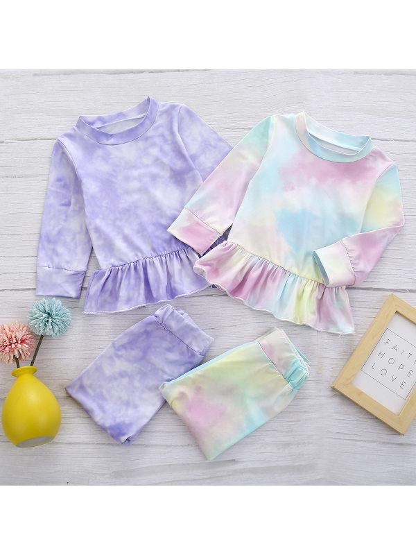 【12M-5Y】Girls Tie-dye Long-sleeved Two-piece Suit
