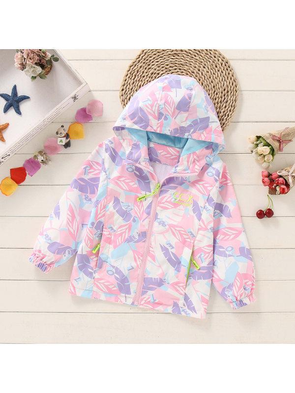 【2Y-13Y】Girls Print Hooded Jacket