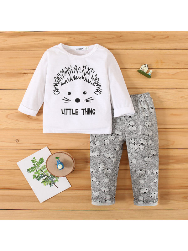 【3M-24M】Baby Long-sleeved Cartoon Print Two-piece Suit