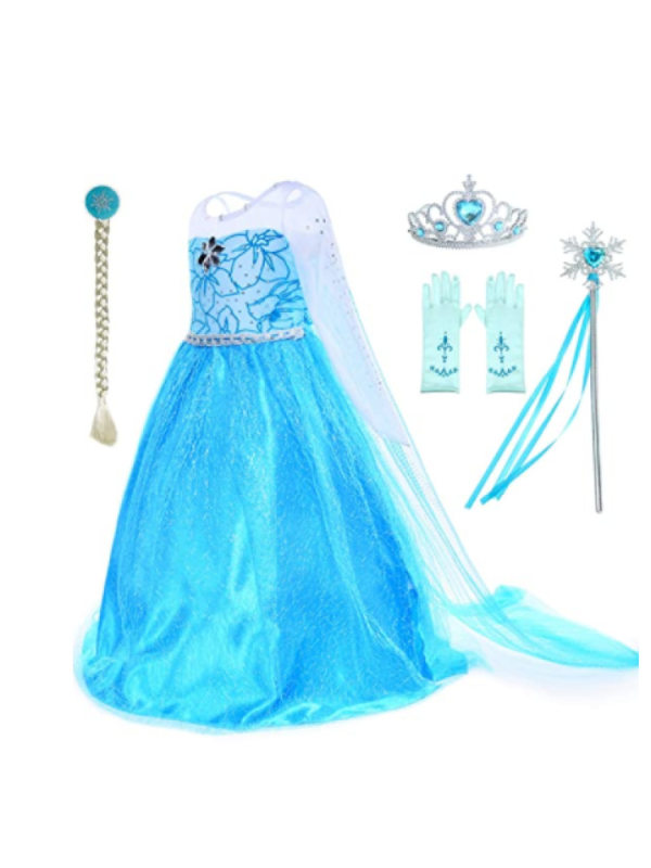 【2Y-8Y】Girls Sequined White Blue Princess Dress With Detachable Cloak