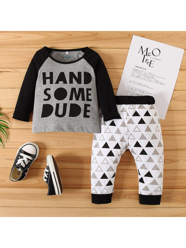 【3M-24M】Baby Letter Print Two-piece Suit